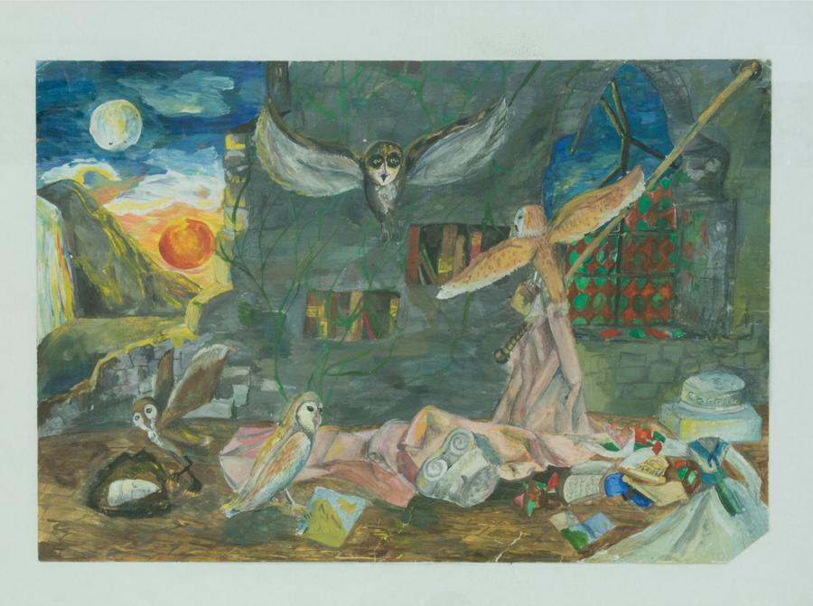 Когда день сменяет ночь (иллюстр. к роману К.Ласки «Легенды ночных стражей»), 30х42, 2011г, бумага, гуашь