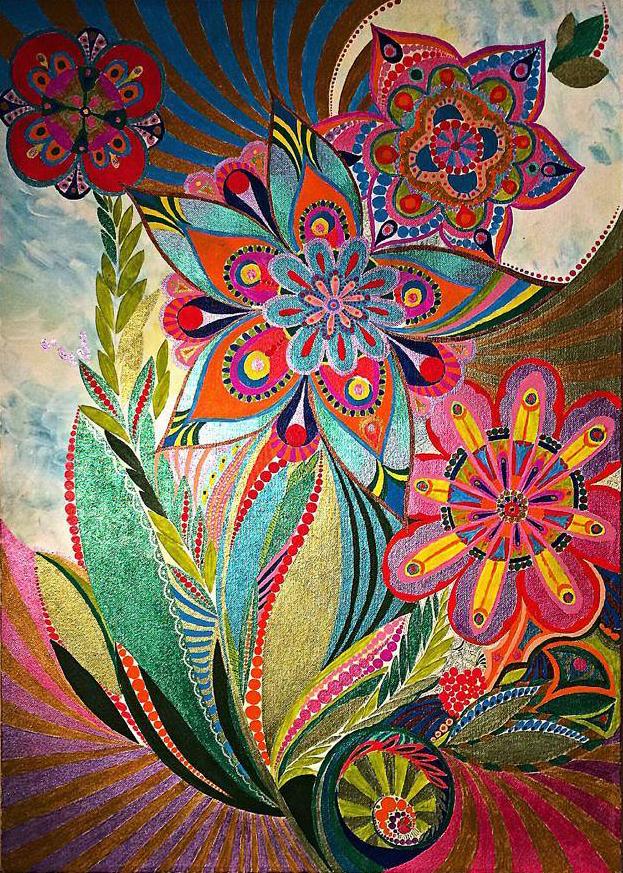 Цветы, 70х50 см