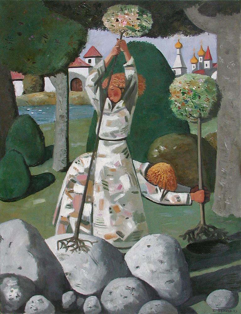САЖАЮЩИЙ. 90Х70см, холст, масло, 2003г